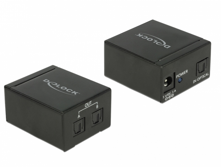 Imagine Multiplicator/Splitter Toslink S/PDIF la 2 x Toslink S/PDIF, Delock 18766