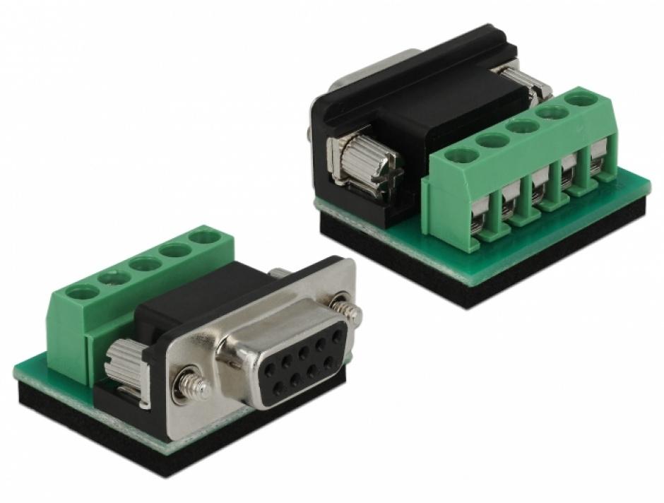 Imagine Adaptor USB 2.0 la serial RS-422/485 DB9 surge protection 600 W extended temperature range, Delock-2