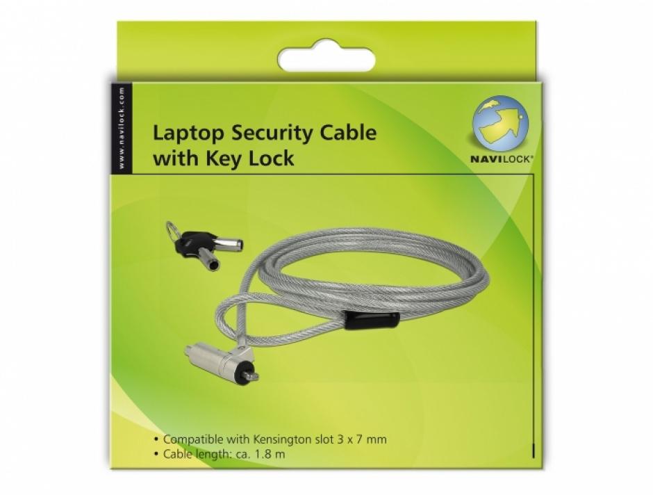 Imagine Cablu de securitate notebook cu cheie pentru slot Kensington 3x7mm, Navilock 20653-2