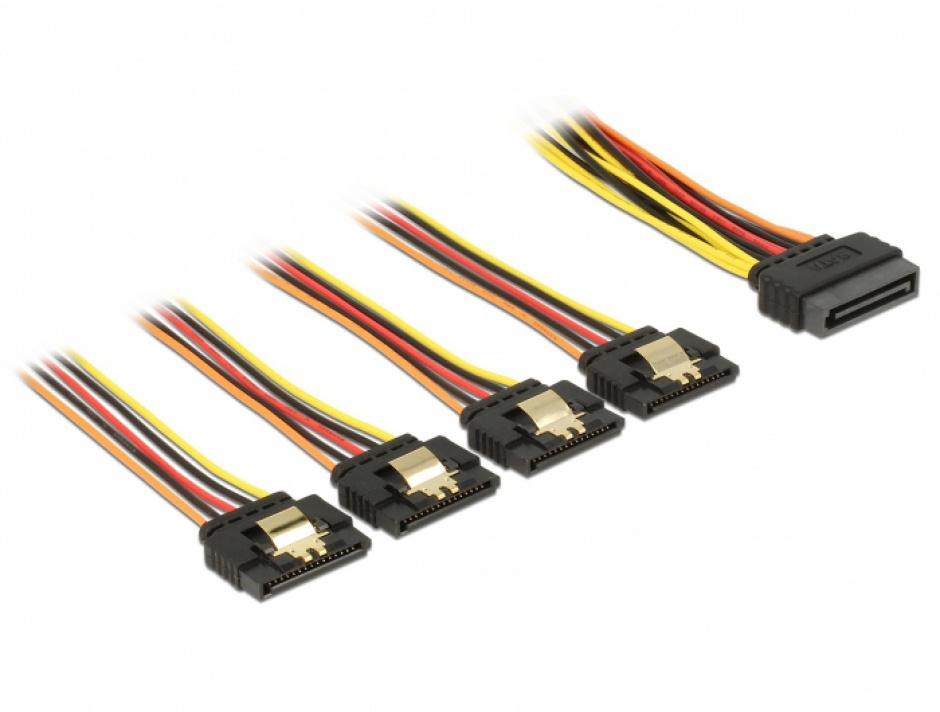 Imagine Cablu de alimentare SATA 15 pini la 4 x SATA 30cm, Delock 60157