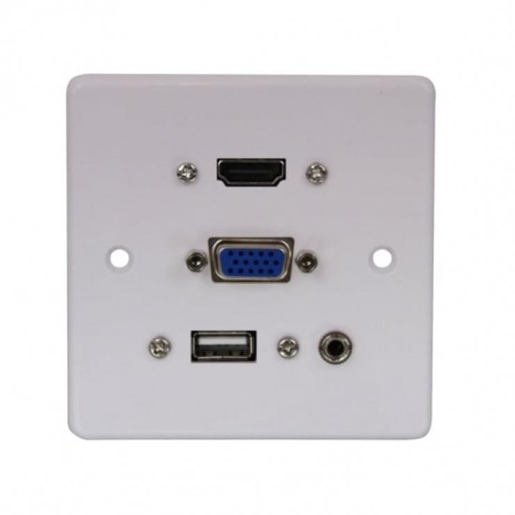 Imagine Priza perete cu 1 x HDMI v1.4 Full HD, 1 x VGA, 1 x USB, 1 x jack stereo 3.5mm, Lindy L60220-2