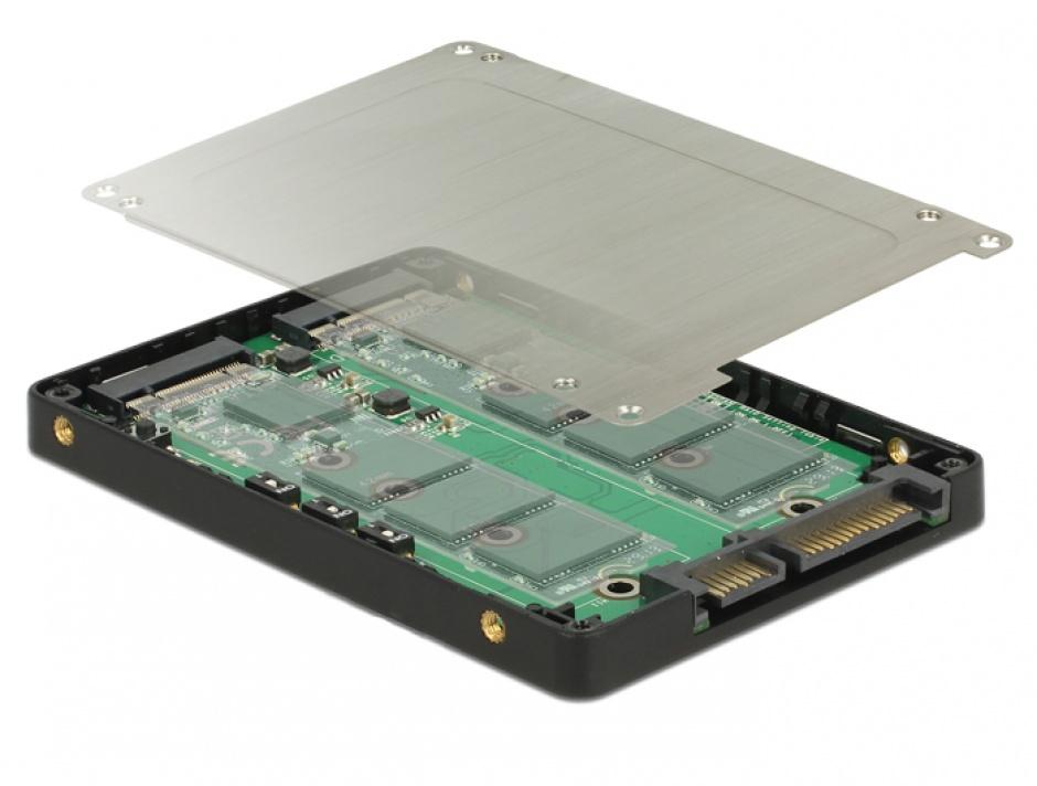 "Imagine Adaptor 2.5"" SATA 22 pini la 2 x M.2 RAID + rack extern, Delock 62791"