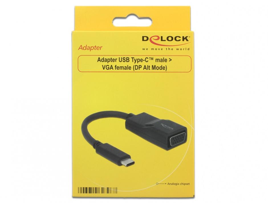 Imagine Adaptor USB tip C la VGA (DP Alt Mode) T-M Negru, Delock 62796