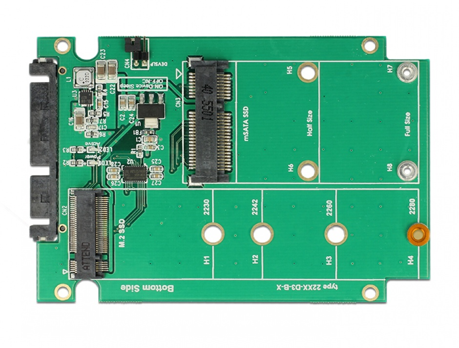 "Imagine Convertor 2.5"" SATA 22 pini la 1 x M.2 key B + 1 x mSATA 9.5mm, Delock 62866-3"