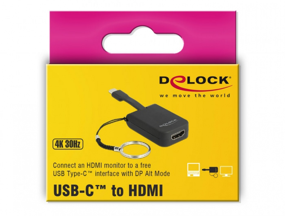 Imagine Adaptor USB-C la HDMI (DP Alt Mode) 4K 30 Hz T-M pentru breloc, Delock 63942