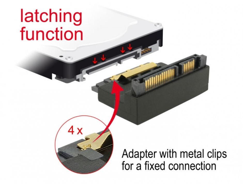 Imagine Adaptor SATA 22 pini T-M unghi 90 grade sus, Delock 63944-4