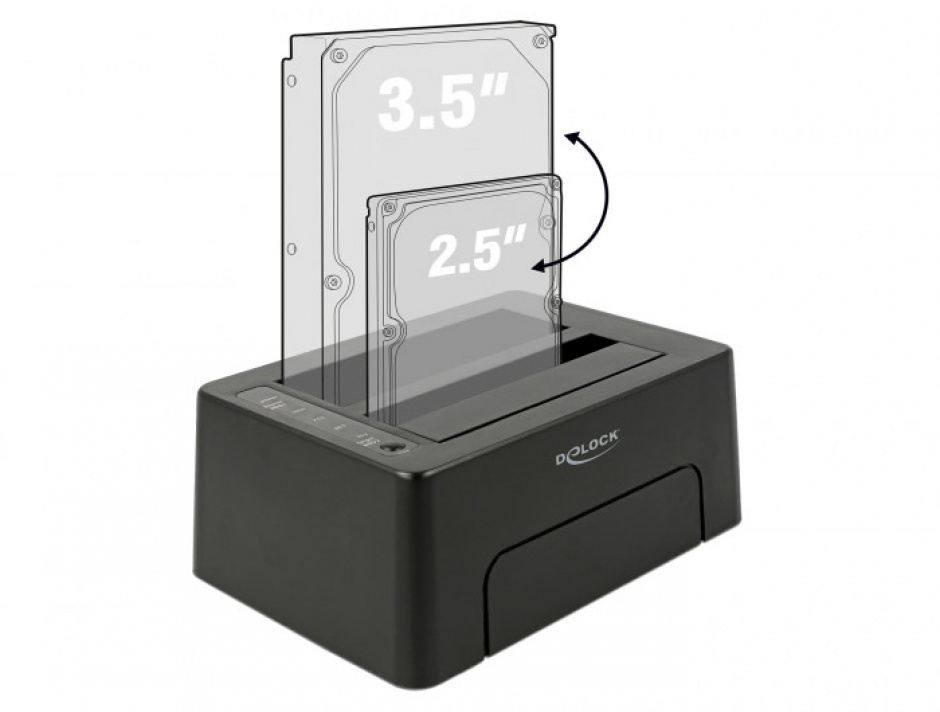 Imagine Docking Station USB 3.1-C la 2 x SATA HDD/SSD cu functie de Clona, Delock 63957-3