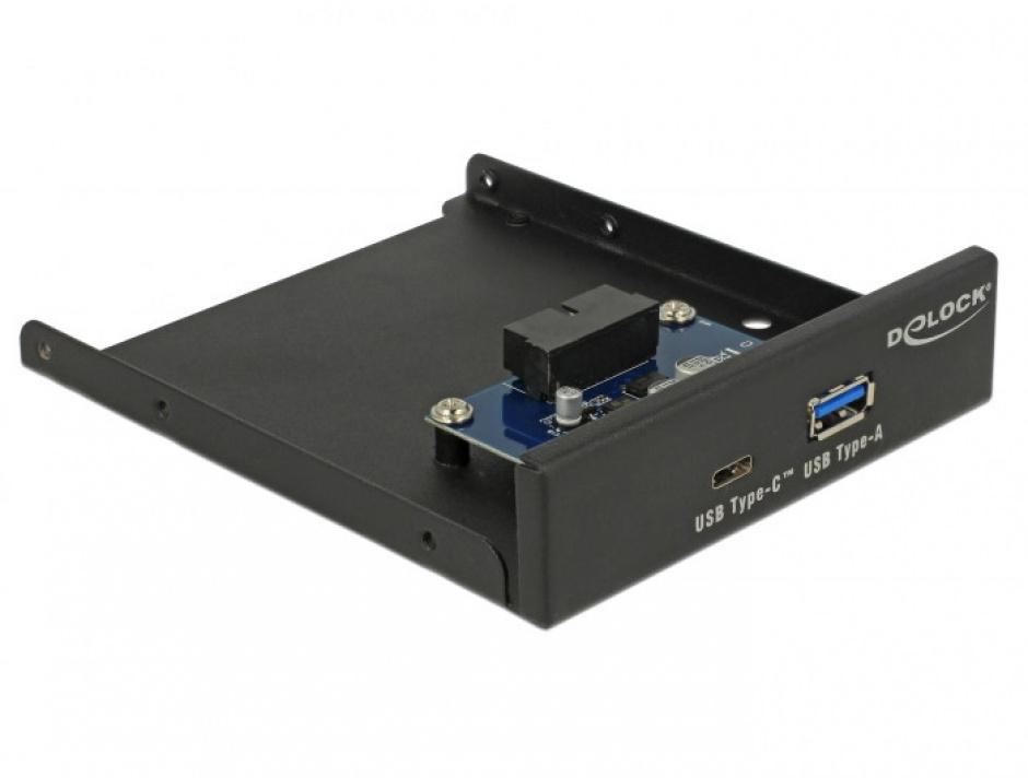 """Imagine Front Panel 3.5"""" USB 3.1 Gen 1 cu 1 x USB-A + 1 x USB-C, Delock 63962"""