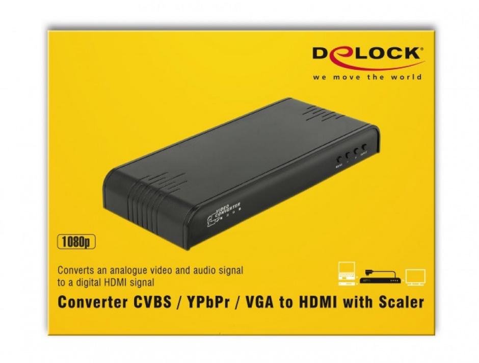 Imagine Convertor CVBS / YPbPr / VGA la HDMI cu Scalare, Delock 63963-3