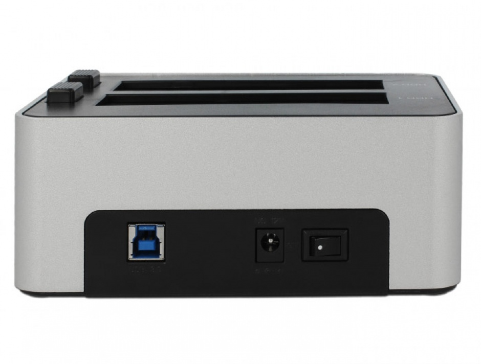 Imagine Dual Docking Station 2 x SATA HDD / SSD la USB 3.0 functie de Clona carcasa metalica, Delock 63991-2