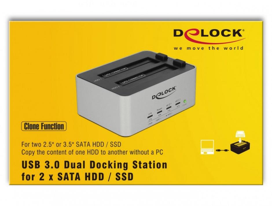 Imagine Dual Docking Station 2 x SATA HDD / SSD la USB 3.0 functie de Clona carcasa metalica, Delock 63991-7