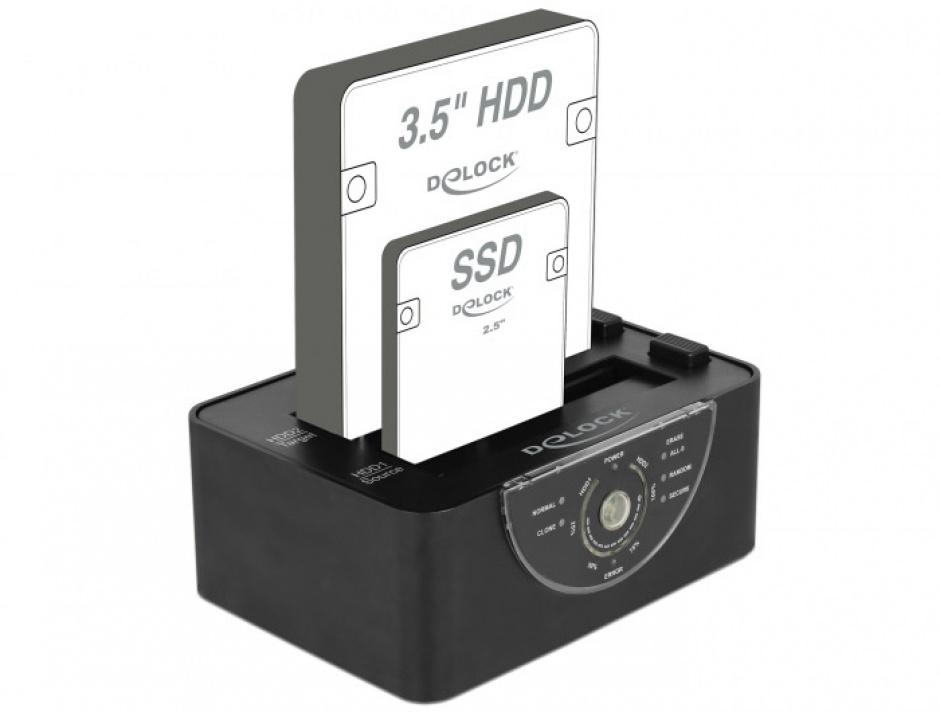 Imagine Docking Station Dual USB 3.0 pentru 2 x SATA HDD/SSD functie de Clona/Erase metalic, Delock 63992-1