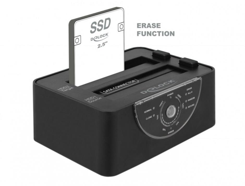 Imagine Docking Station Dual USB 3.0 pentru 2 x SATA HDD/SSD functie de Clona/Erase metalic, Delock 63992-3