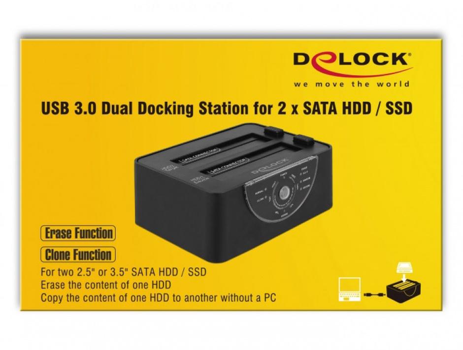 Imagine Docking Station Dual USB 3.0 pentru 2 x SATA HDD/SSD functie de Clona/Erase metalic, Delock 63992-8