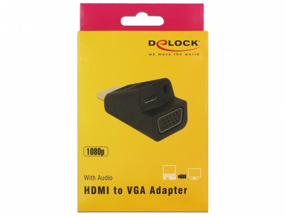 Imagine Adaptor HDMI la VGA cu audio si alimentare micro USB, Delock 65895