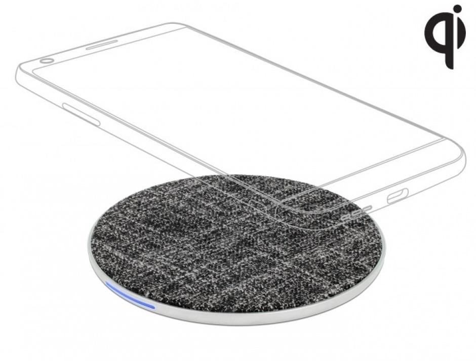 Imagine Incarcator Wireless Qi Fast charger 7.5 / 10W, Delock 65919-1