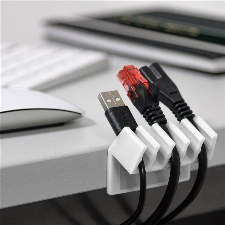 Imagine Set 2 bucati organizatoare cablu cu 5 sloturi albe, Goobay 70431