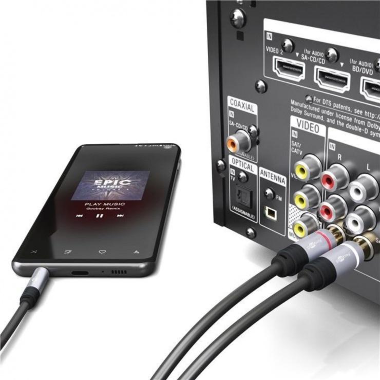 Imagine Cablu audio jack 3.5mm la 2 x RCA CCS T-T 3m, Goobay 78739-3