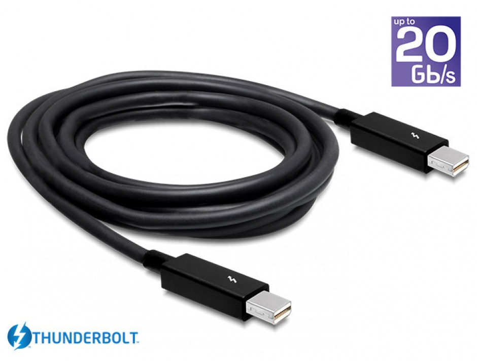 Imagine Cablu Thunderbolt 2 T-T 2m Negru, Delock 83150-1