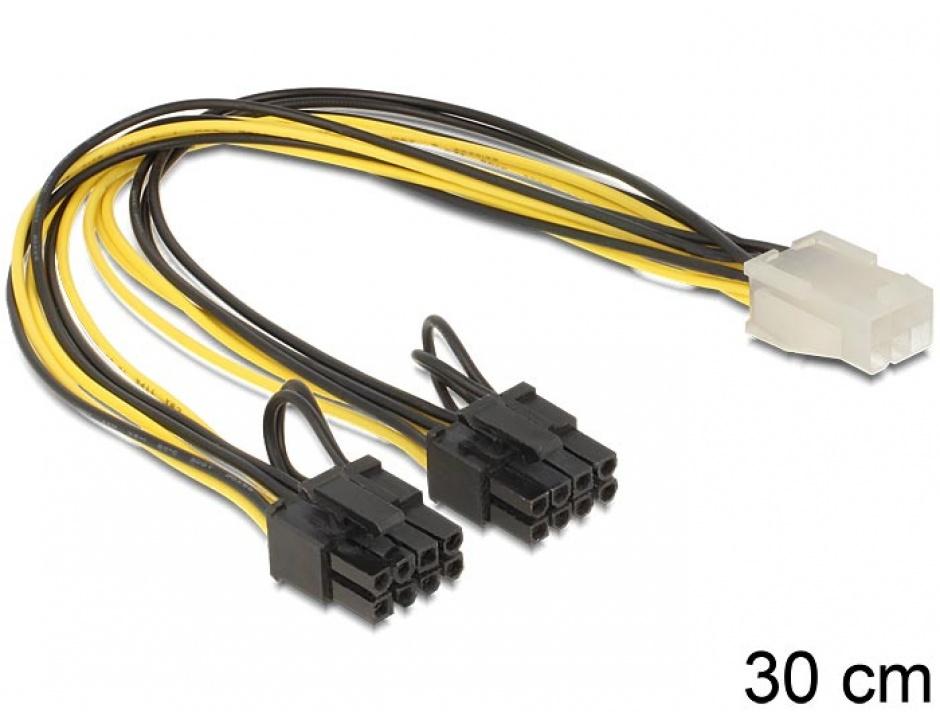 Imagine Cablu PCI Express 6 pini la 2 x 8 pini M-T 30cm, Delock 83433