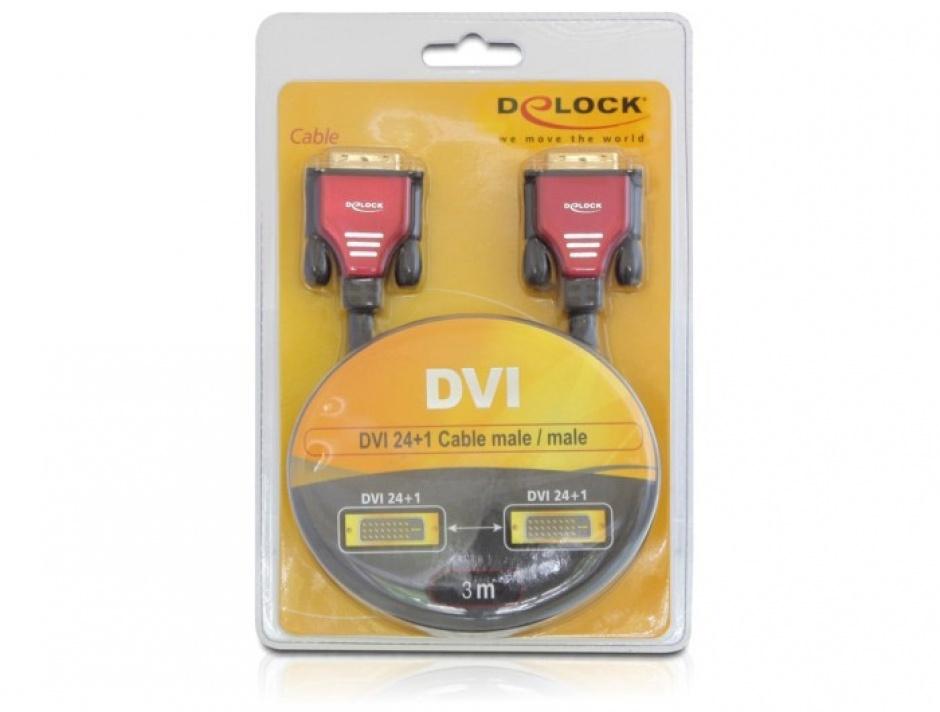 Imagine Cablu DVI-D Dual Link 24+1pini ecranat 3m, Delock 84346-2