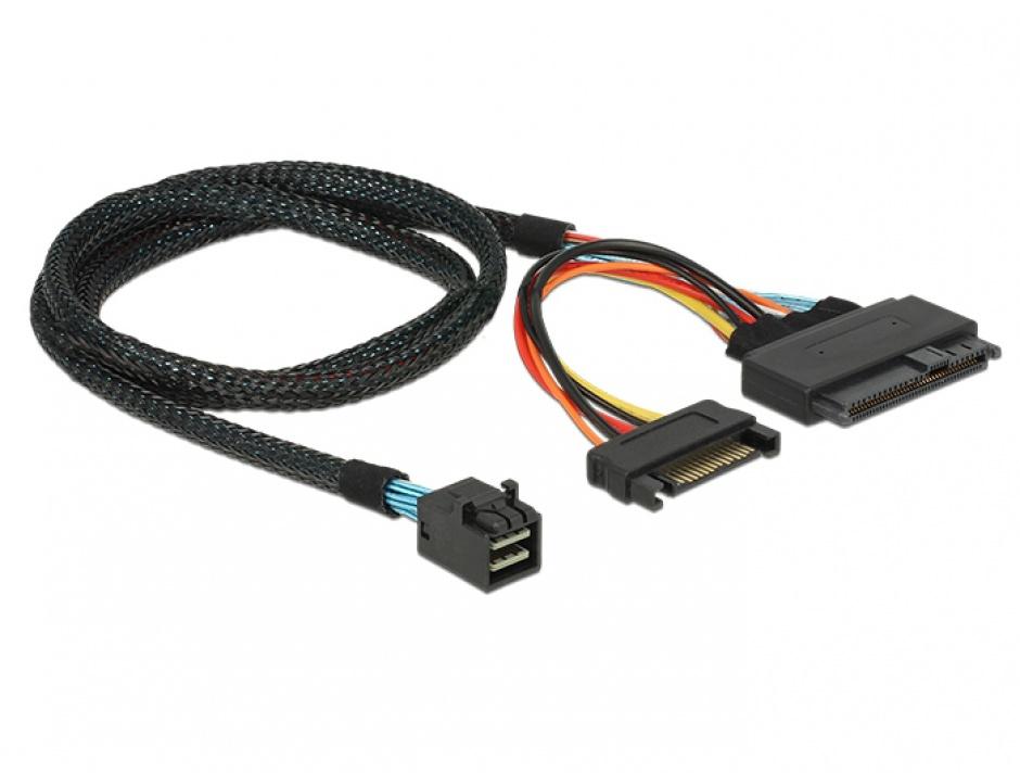 Imagine Cablu SFF-8643 la U.2 SFF-8639 + alimentare SATA 75cm, Delock 84821