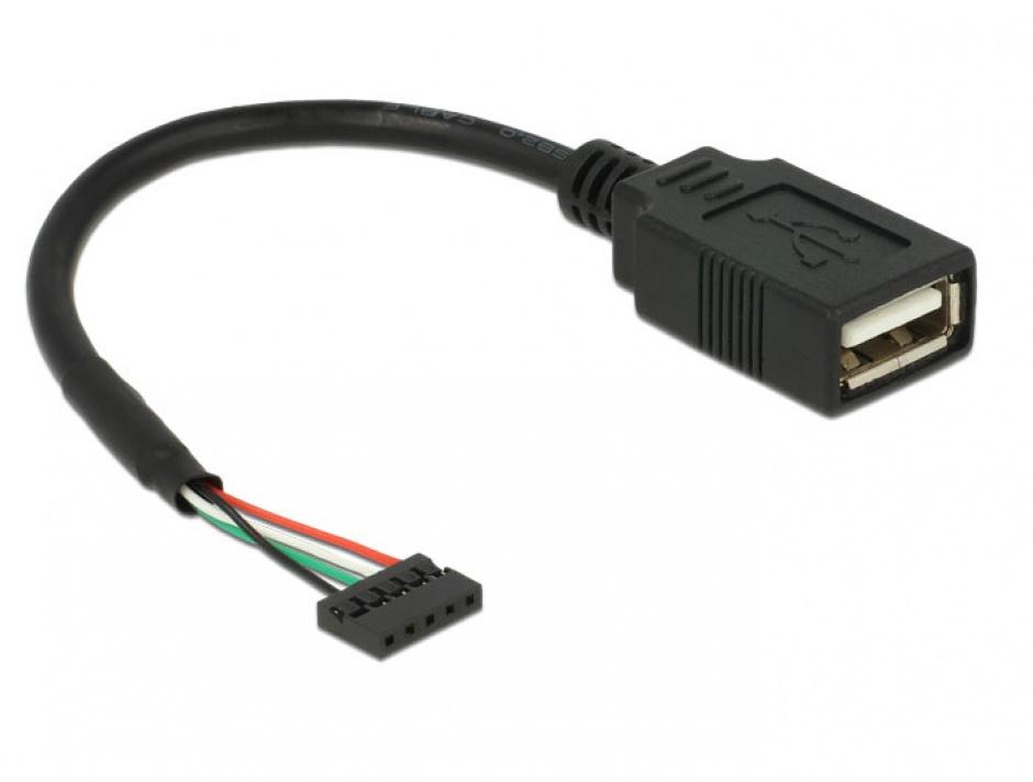 Imagine Cablu USB 2.0 pin header 2.00 mm 5 pini la USB 2.0-A M-M 15cm, Delock 84831-1