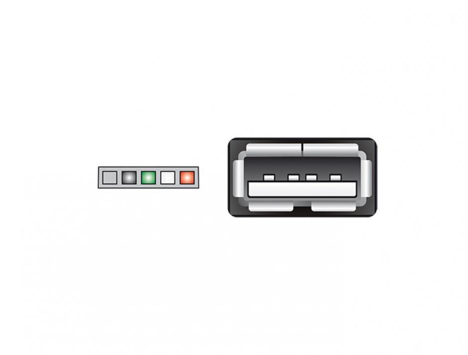 Imagine Cablu USB 2.0 pin header 2.00 mm 5 pini la USB 2.0-A M-M 15cm, Delock 84831-2