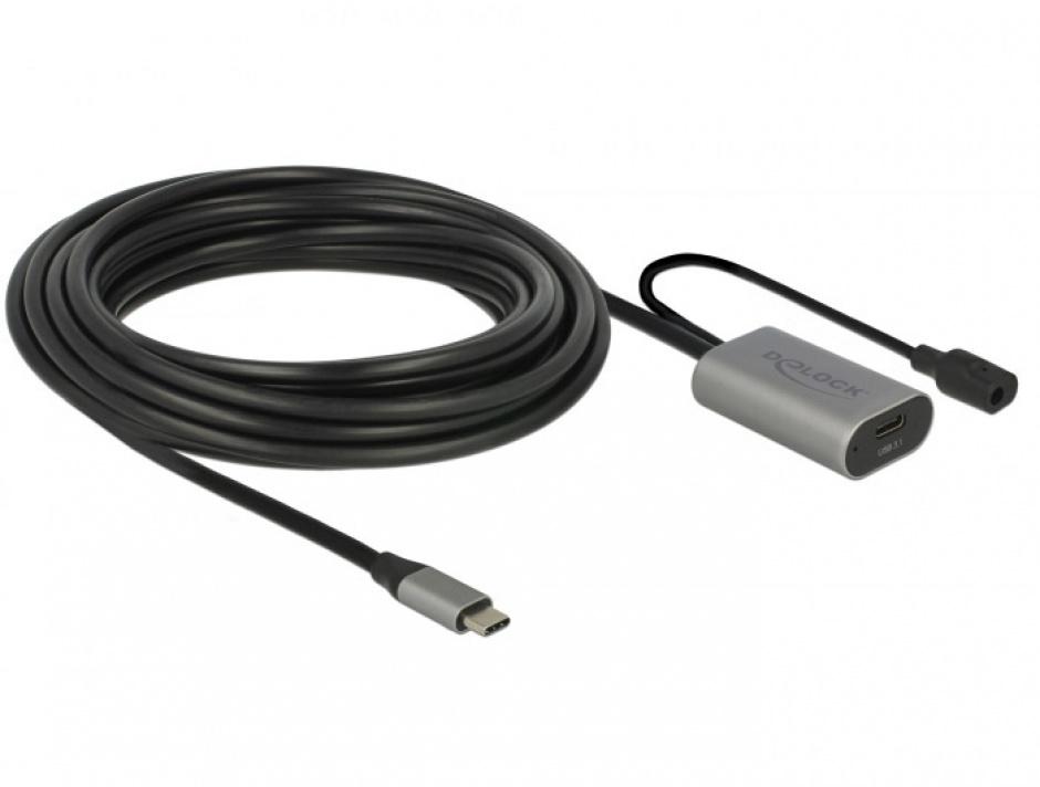 Imagine Cablu prelungitor USB 3.1-C Gen 1 activ 5m T-M Negru, Delock 85392-1