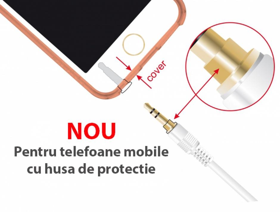 Imagine Cablu prelungitor audio jack 3.5mm (pentru smartphone cu husa) 3 pini T-M 5m Alb, Delock 85591-2