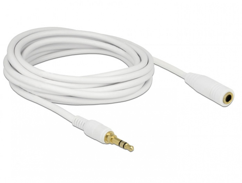 Imagine Cablu prelungitor audio jack 3.5mm (pentru smartphone cu husa) 3 pini T-M 5m Alb, Delock 85591-1