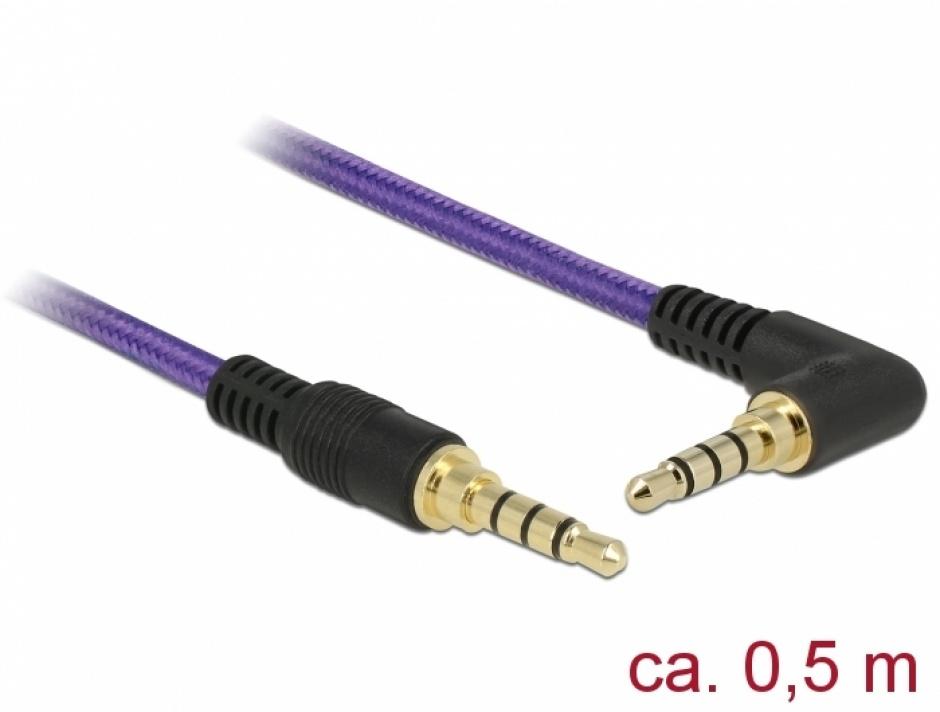 Imagine Cablu stereo jack 3.5mm 4 pini (pentru smartphone cu husa) unghi Mov T-T 0.5m, Delock 85608