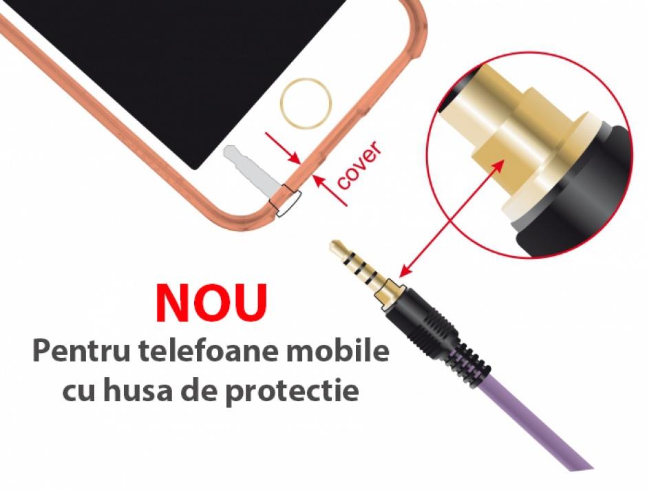 Imagine Cablu audio jack stereo 3.5mm (pentru smartphone cu husa) T-T 4 pini 5m mov, Delock 85605-2