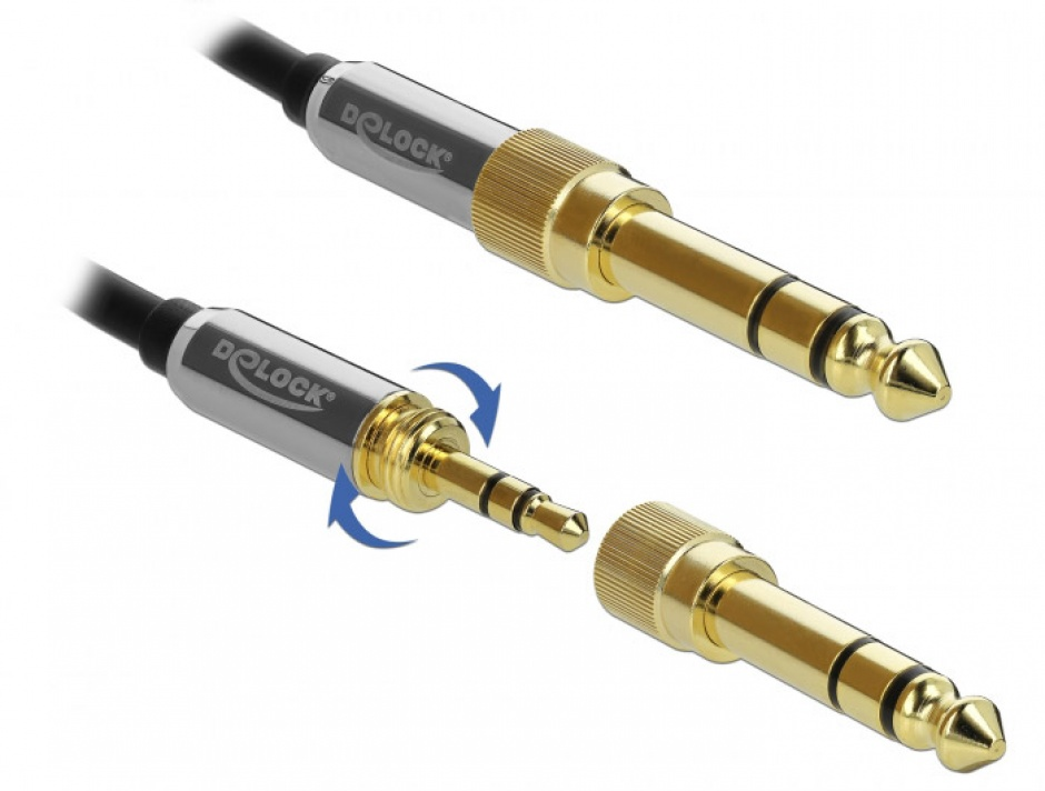 Imagine Cablu prelungitor jack stereo 3.5mm 3 pini T-M + adaptor cu surub 6.35 mm 1m, Delock 85780-3