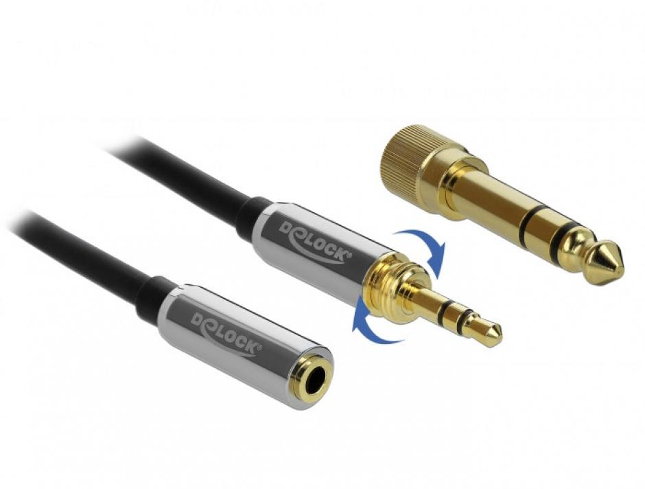 Imagine Cablu prelungitor jack stereo 3.5mm 3 pini T-M + adaptor cu surub 6.35 mm 5m, Delock 85783