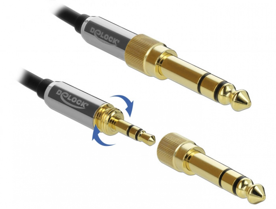 Imagine Cablu jack stereo 3.5mm 3 pini T-T + adaptor cu surub 6.35 mm 0.5m, Delock 85784-3
