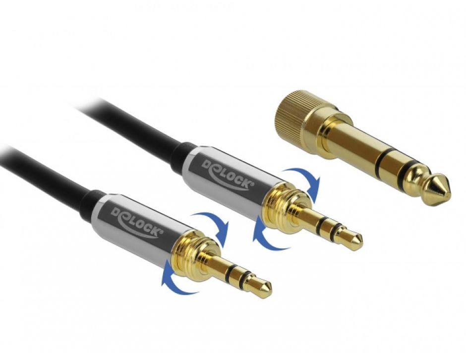 Imagine Cablu jack stereo 3.5mm 3 pini T-T + adaptor cu surub 6.35 mm 5m, Delock 85788