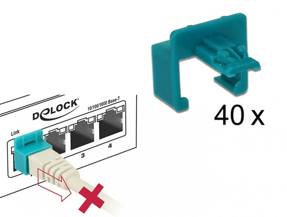 Imagine Set 60 buc Clips pentru securizarea mufei RJ45, Delock 86446
