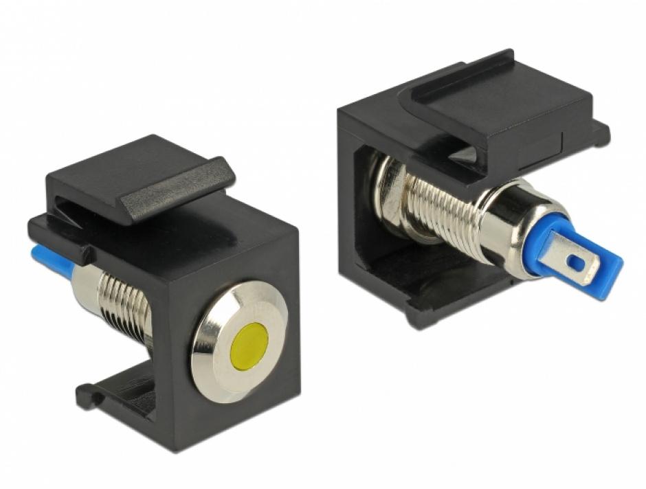 Imagine Keystone negru cu LED galben 6V flat, Delock 86462