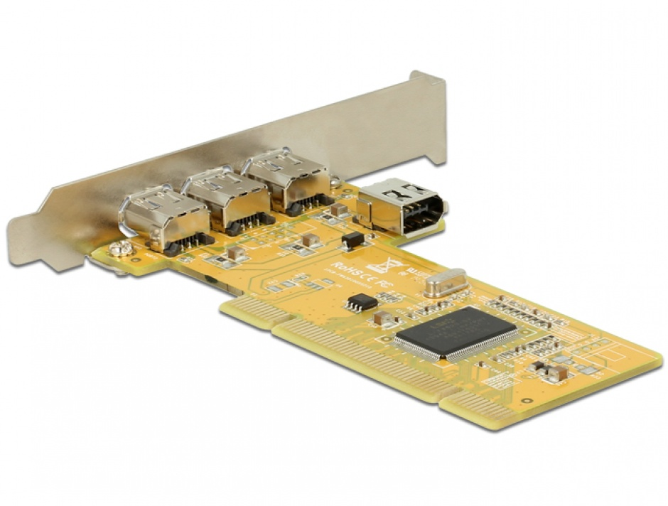 Imagine PCI Card cu 3 x external + 1 x internal FireWire A, Delock 89443-1