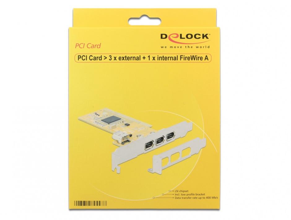 Imagine PCI Card cu 3 x external + 1 x internal FireWire A, Delock 89443-3