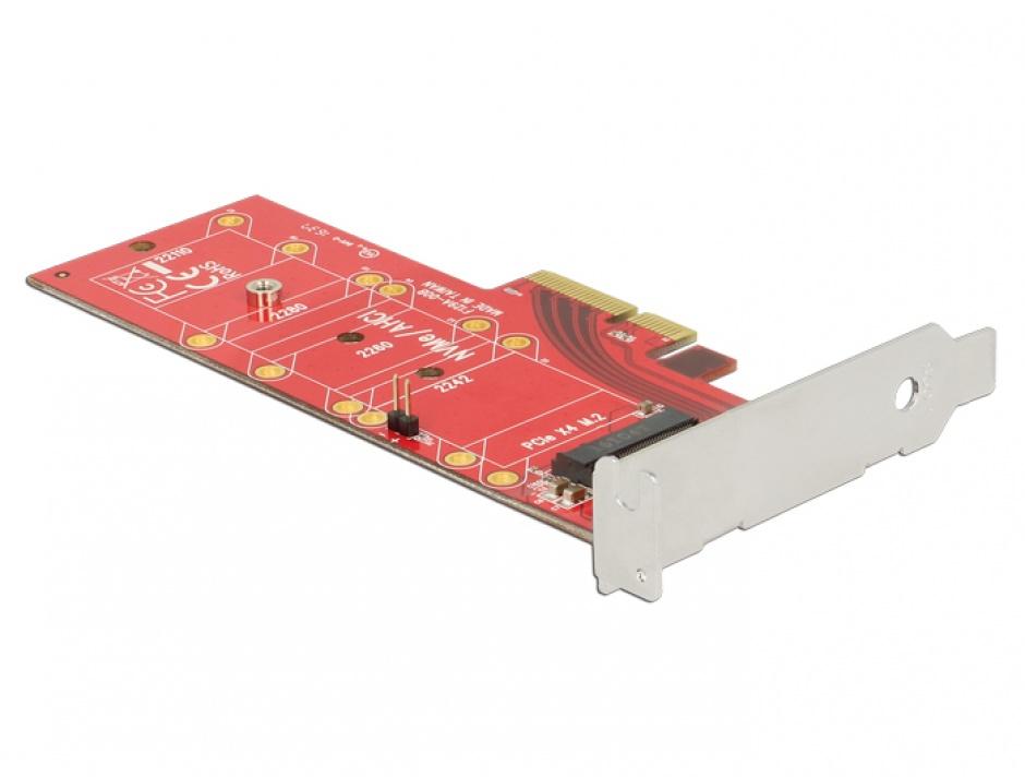 Imagine PCI Express x4 la 1 x NVMe M.2 Key M 110 mm cu radiator, Delock 89577