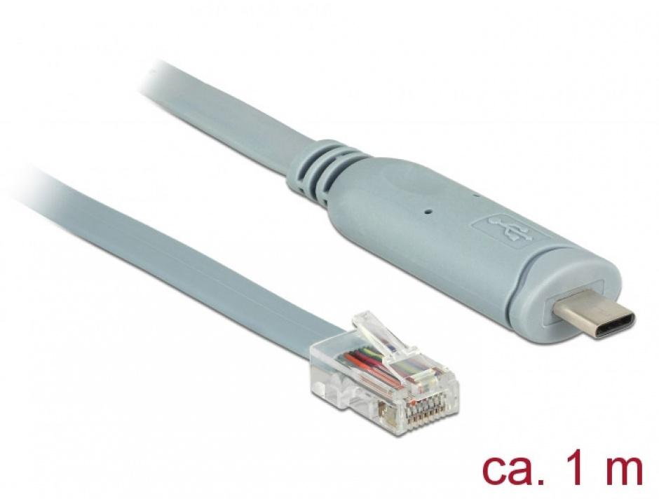 Imagine Cablu USB-C la Serial RS-232 RJ45 T-T 1m Gri, Delock 89893