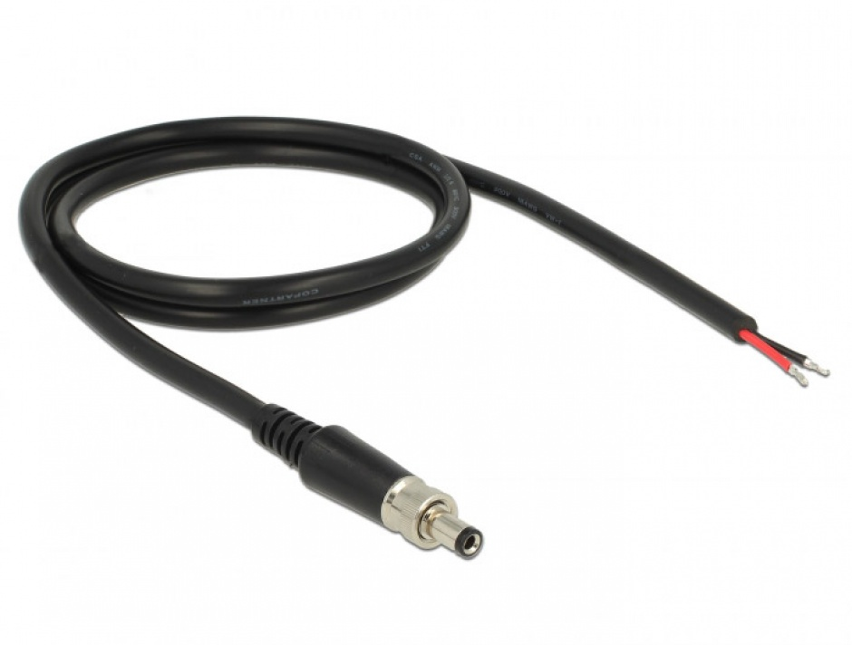 Imagine Cablu de alimentare DC 5.5 x 2.5 x 9.5 mm la fire deschise 95cm, Delock 89908 -2