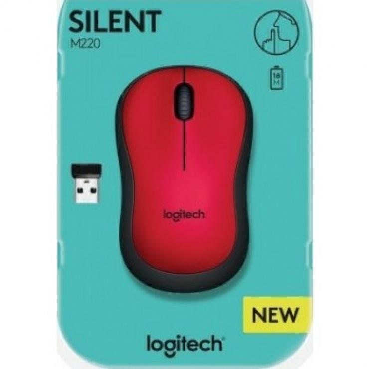 Imagine Mouse wireless silentios Rosu, Logitech M220