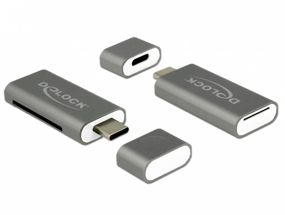 Imagine Cititor de carduri USB tip C 3.1 la SDHC / MMC + Micro SD, Delock 91742