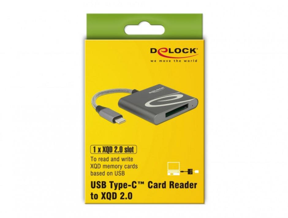 Imagine Cititor de carduri USB 3.1-C pentru carduri memorie XQD 2.0, Delock 91746-1