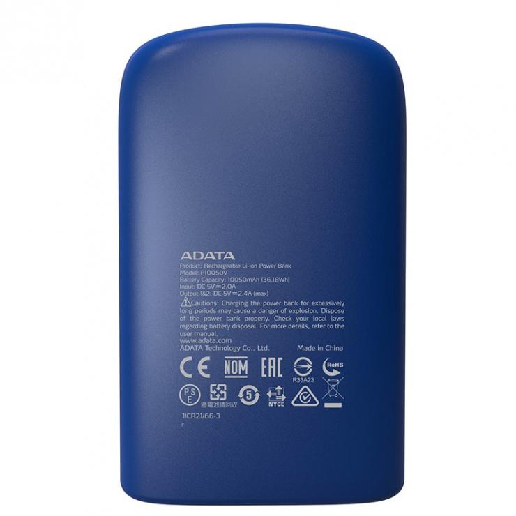 Imagine Power bank 10050mAh 2.4A lanterna LED Blue, A-DATA P10050V -1