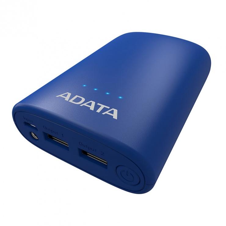 Imagine Power bank 10050mAh 2.4A lanterna LED Blue, A-DATA P10050V -4