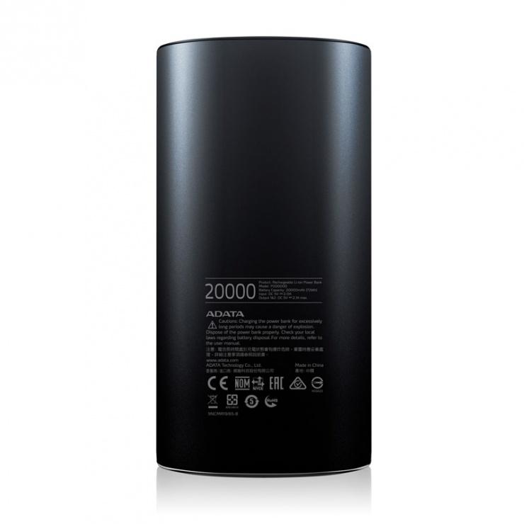 Imagine Power bank 20.000mAh Negru, A-DATA P20000-2